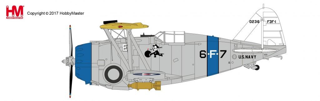 """HA7308 1/48 F3F-1 アメリカ海軍 """"VF-6B USS サラトガ"""" ¥9,800(税抜価格)"""