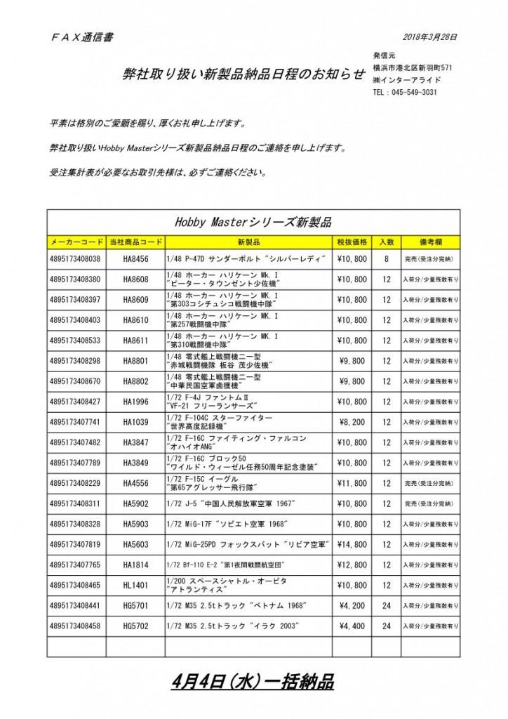 01HM新製品納品日のお知らせ2018_4_4